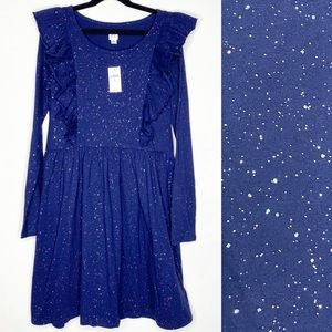 GAP Girls Navy Ruffle Sparkle Cotton Dress 12